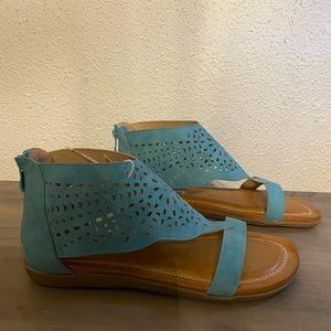 2 Lips Too teal leather tat rap sandals 8.5
